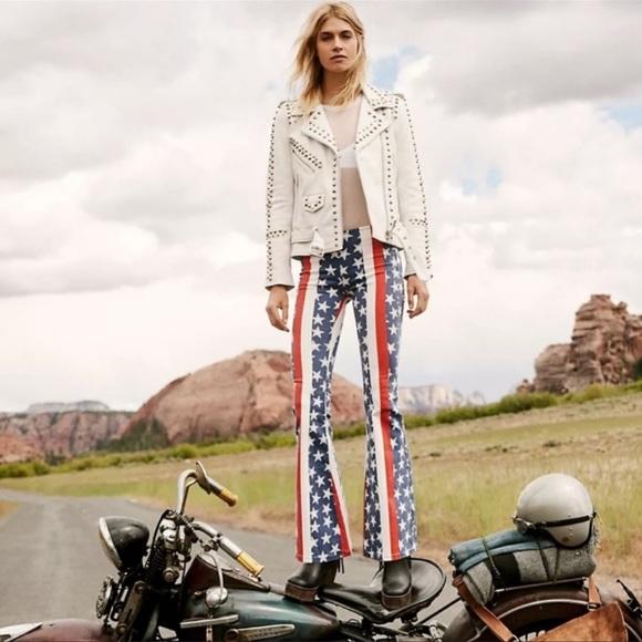 NEW Free People Stars & Stripes Flare Jeans Sz 25